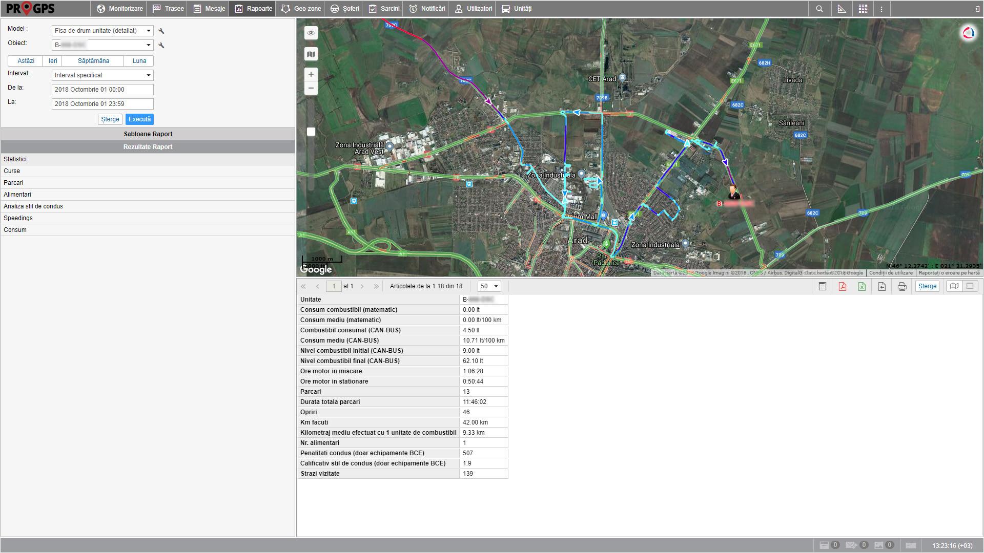 ProGPS monitorizare GPS - modul rapoarte